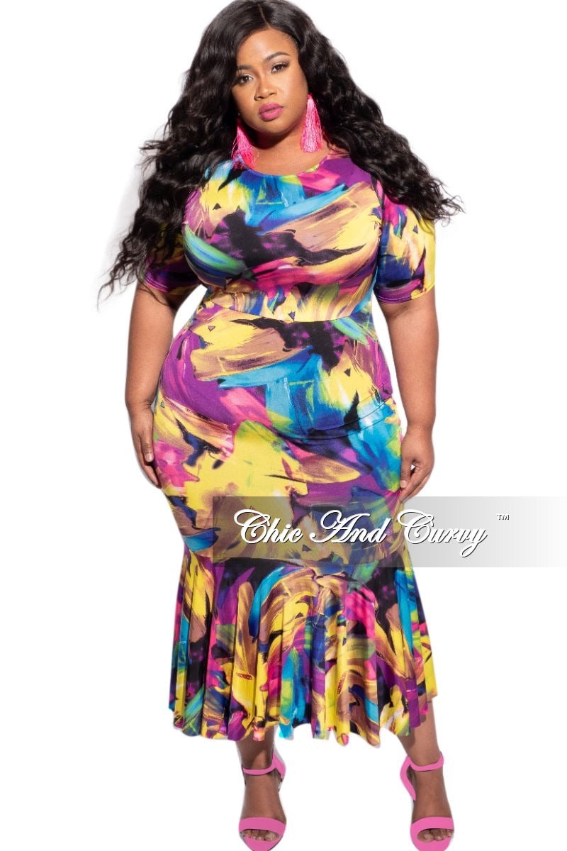 New Plus Size Mermaid Bottom Bodycon in Multi-Color Spray Paint Print