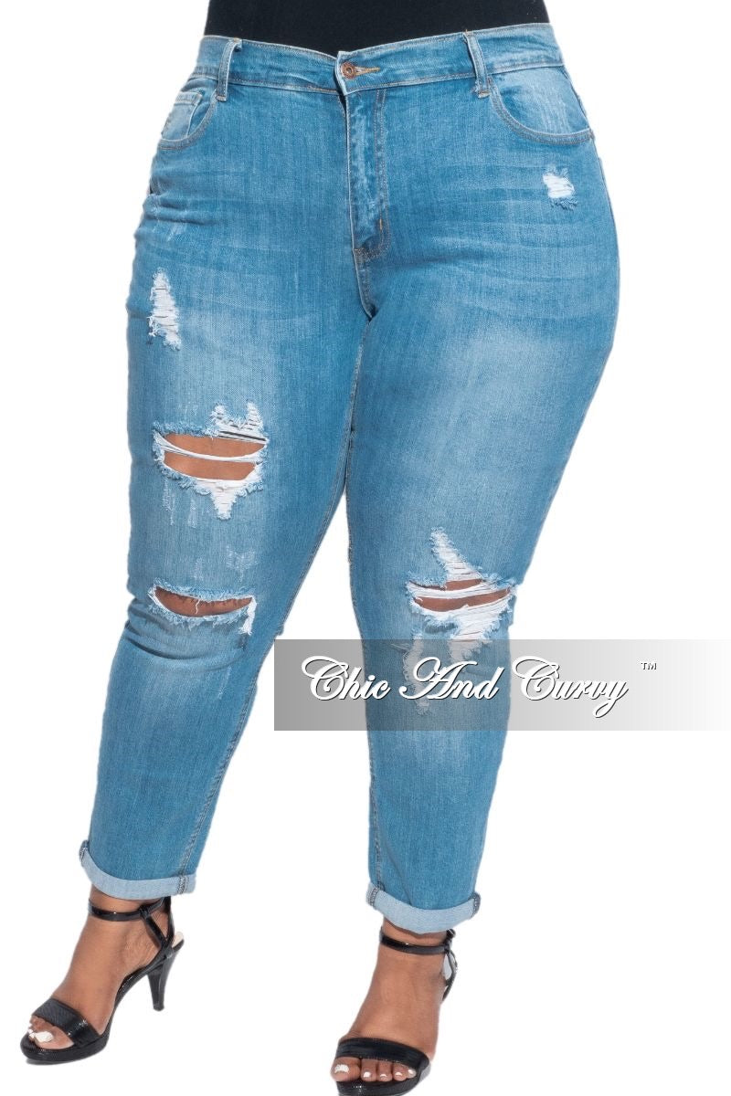 New Plus Size Lightly Distressed Denim Jeans