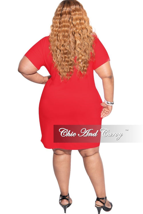 New Plus Size Rolled Sleeve V-Neck Dress in Red