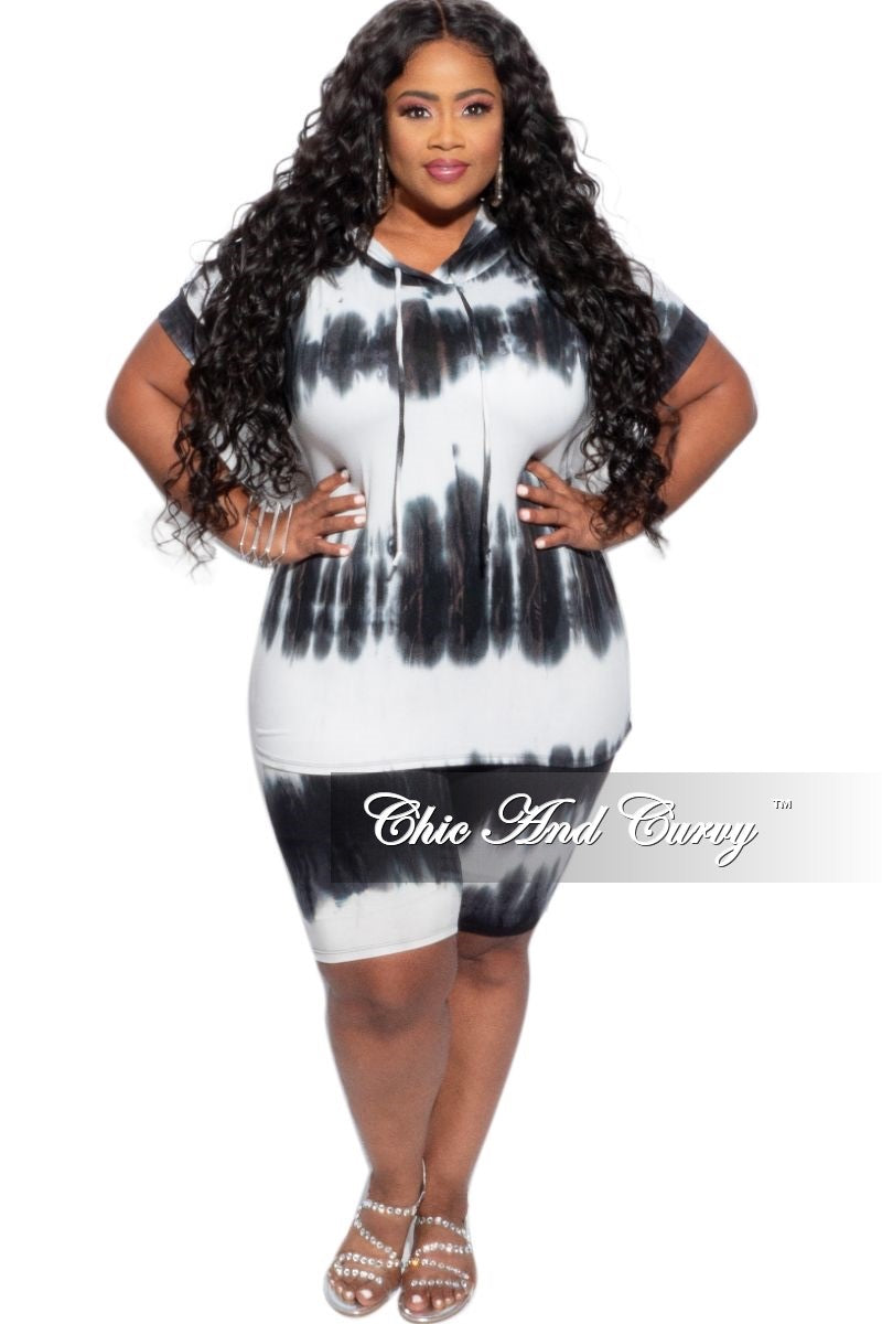 Final Sale Plus Size 2-Piece (Hooded Top and Short) in Navy & White Tie Dye Set