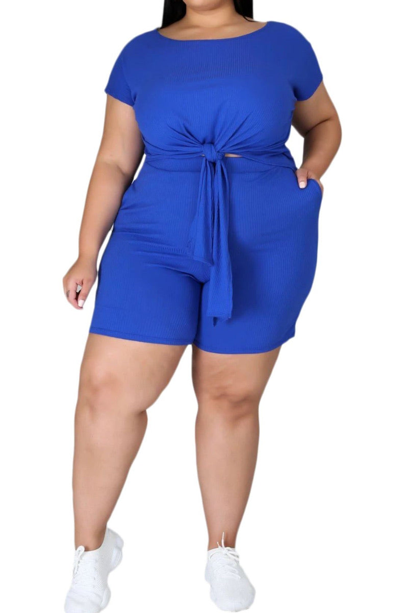 Final Sale Plus Size Set Ribbed Set in Royal Blue