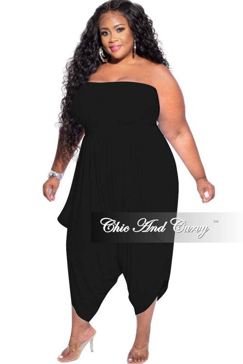 New Plus Size Strapless Smocked Harem Jumpsuit in Black