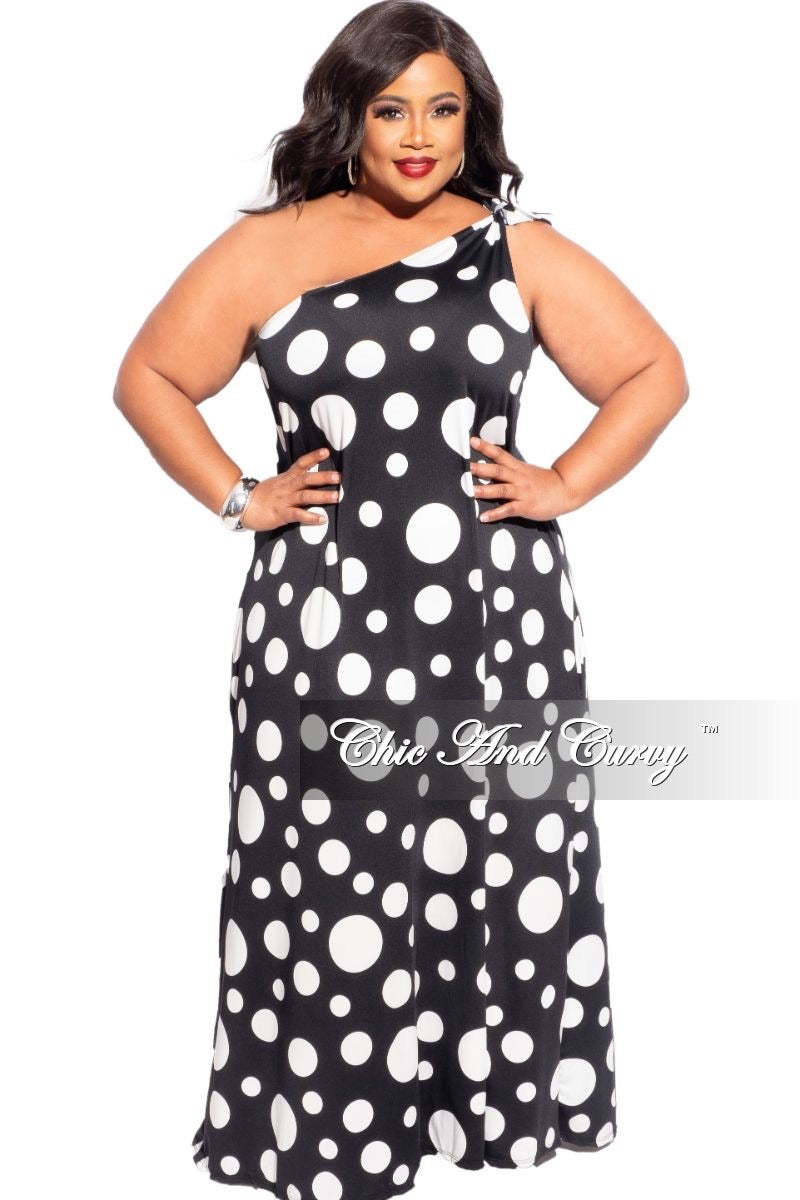 New Plus Size One Shoulder Dress In Black with White Polka Dots
