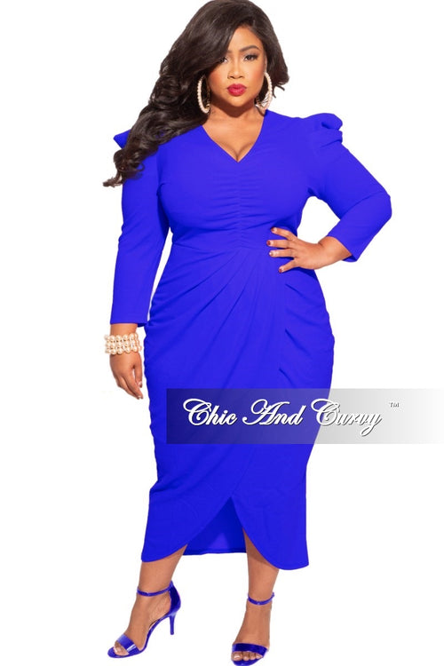 *Final Sale Plus Size Ruched Centered Overlay Tulip Dress in Royal Blue