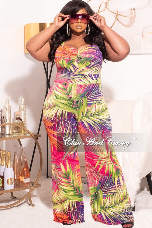 *Final Sale Plus Size Jumpsuit in Orange Tropical Print Love