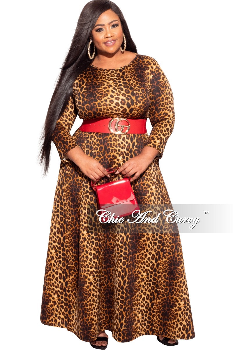 Final Sale Plus Size 2-Pc Skirt Set in Dark Cheetah Print
