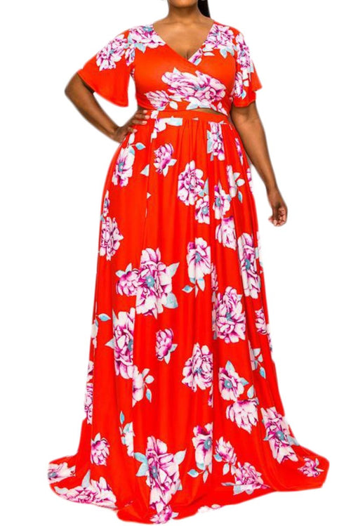 Final Sale Plus Size 2pc Cropped Tie Top and Skirt Set in Red Floral Print