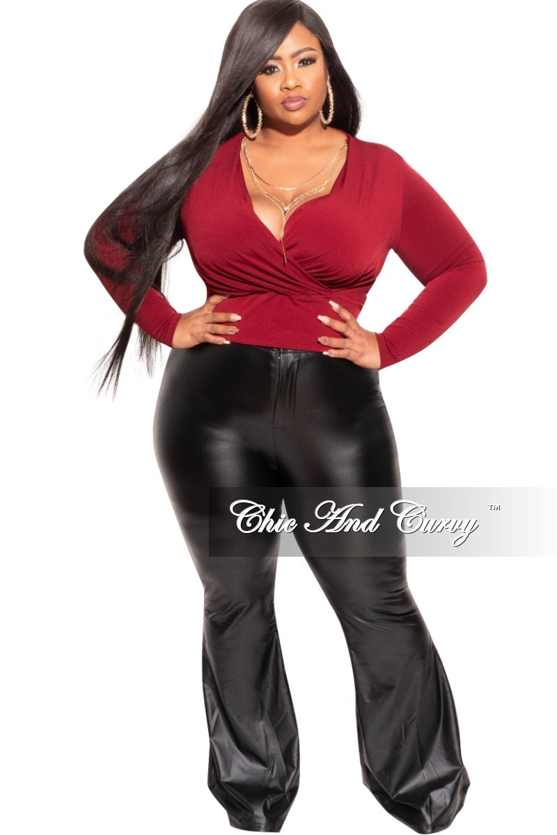 *Final Sale Plus Size Faux Wrap Top in Burgundy