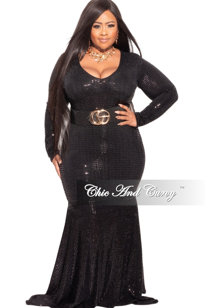 Final Sale Plus Size Deep V Sequin Gown in Black