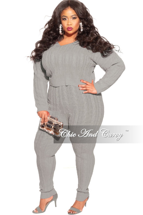 Final Sale Plus Size 2-Piece Sweater Pants Set in Grey