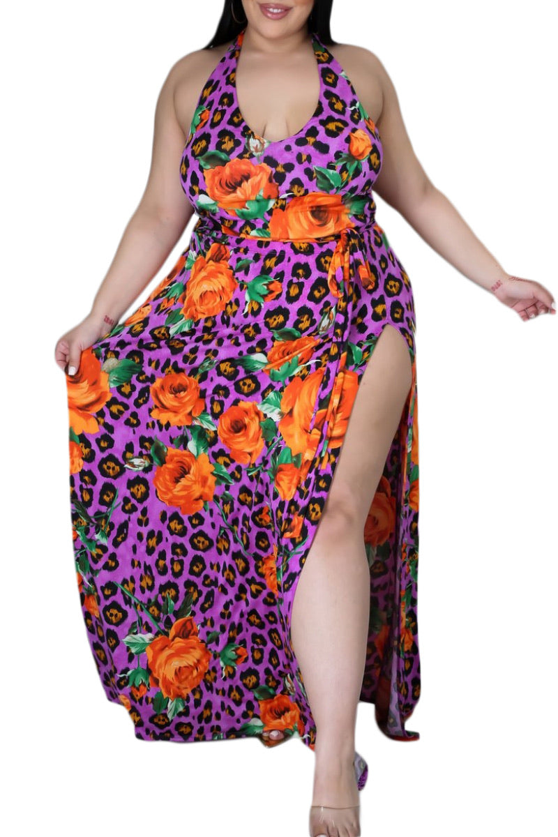 Final Sale Plus Size 2-Pc Set Poolside Playsuit with Bodysuit & High Split Skirt in Purple Floral