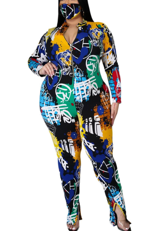 New Plus Size Jumpsuit in Graffiti Print