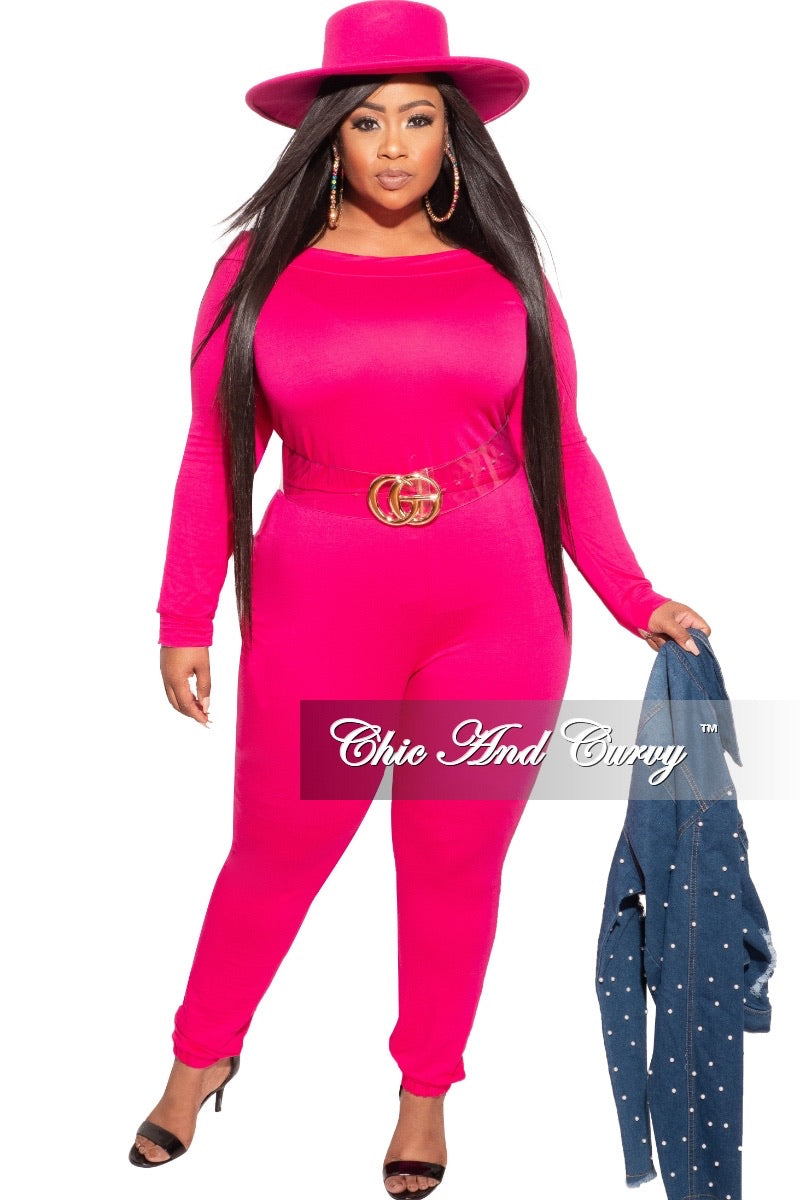 Final Sale Plus Size Off the Shoulder Jumpsuit with Tie in Hot Pink