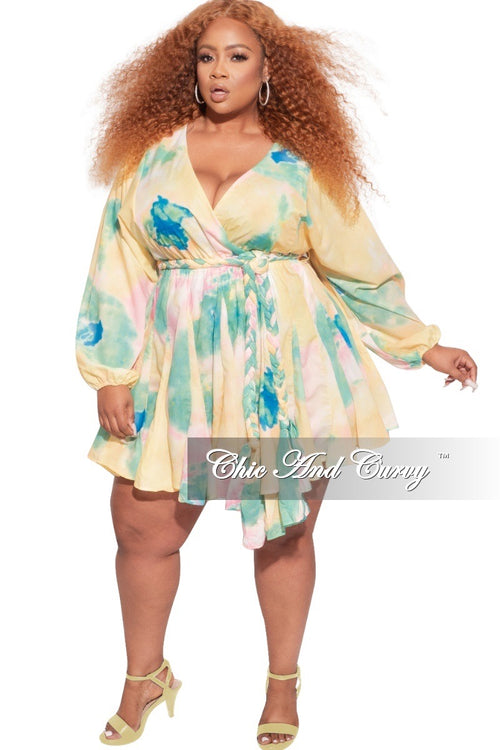 *Final Sale Plus Size BabyDoll Dress in Spring Watercolor Print