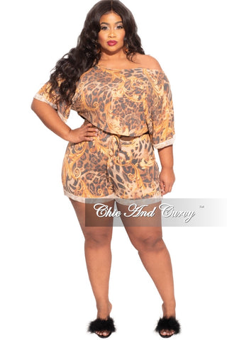 New Plus Size 2-Piece Skirt Set in Neon Pastel Print