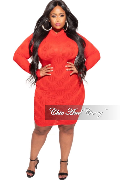 New Plus Size Sheer Bodycon Dress in Red