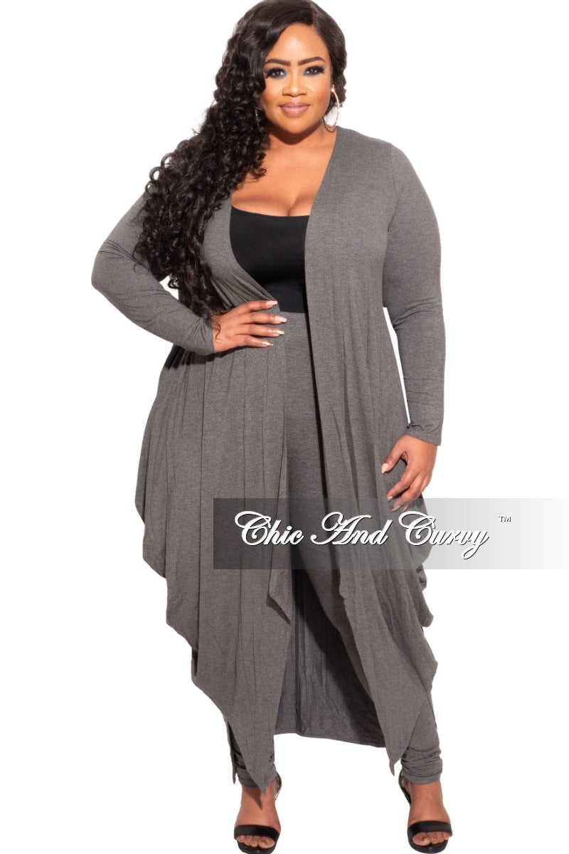 *Final Sale Plus Size 2-pc Set Duster and Leggings in Charcoal