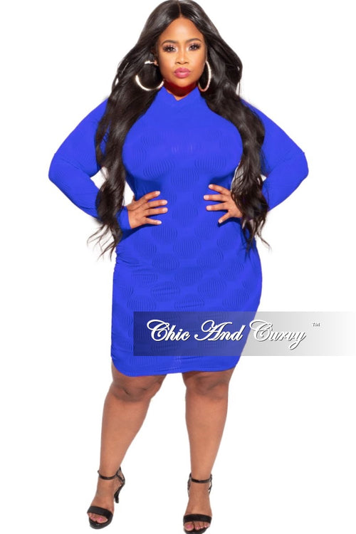 New Plus Size Sheer Bodycon Dress in Royal Blue