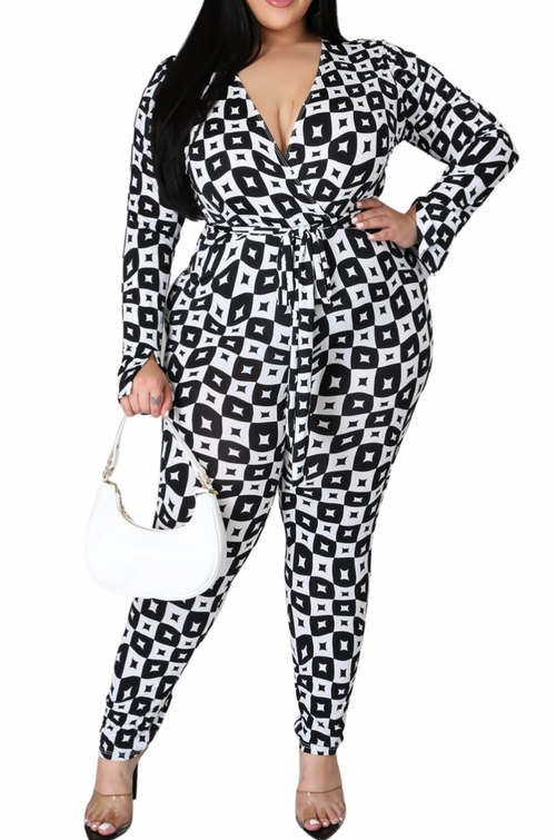 Final Sale Plus Size Jumpsuit with Faux Wrap in Diamond Print