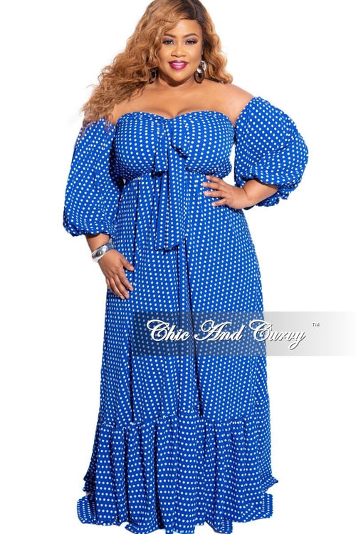 New Plus Size Off the Shoulder Maxi in Blue & White Polka Dot