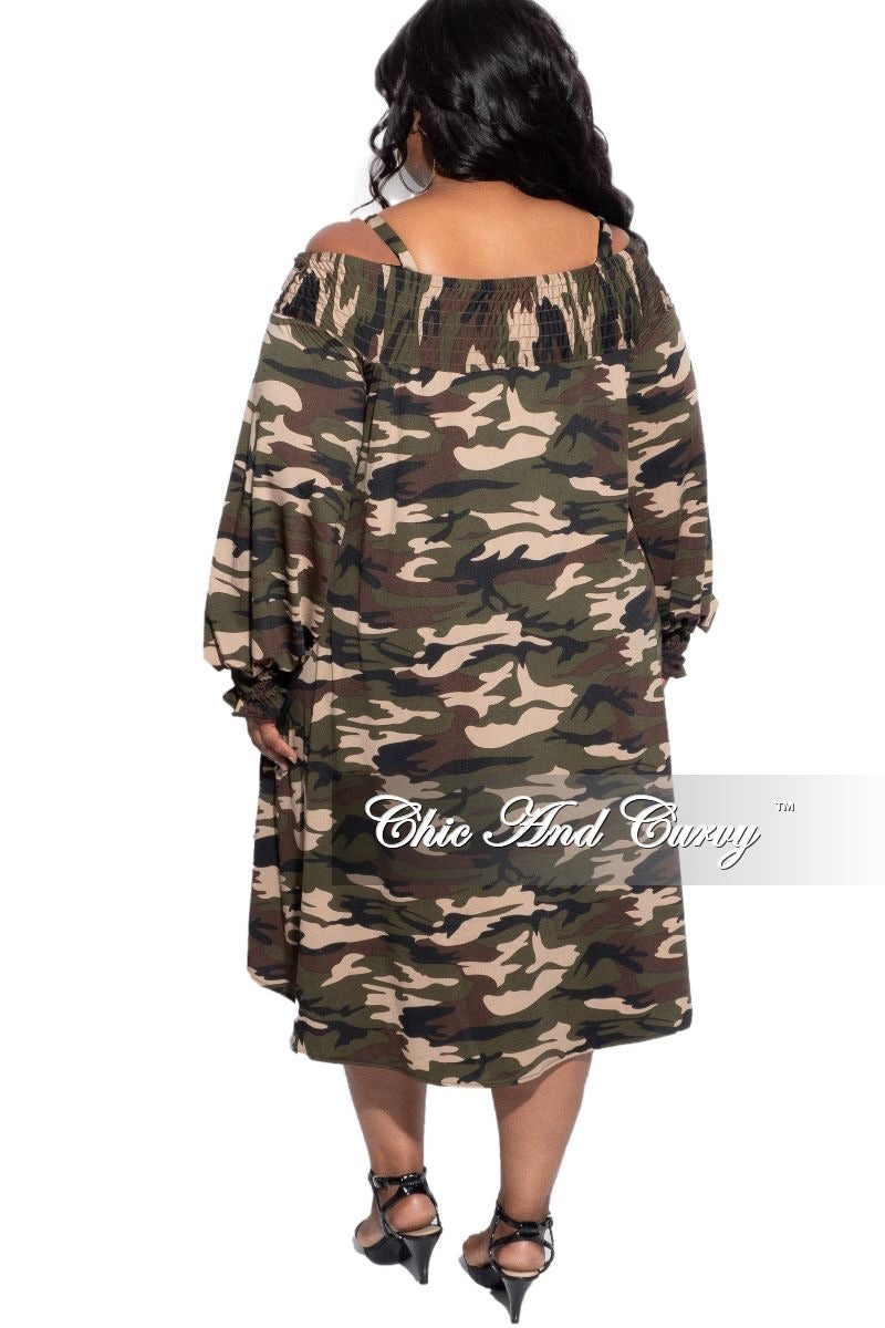 New Plus Size Oversized Off The Shoulder Dress in Camouflage