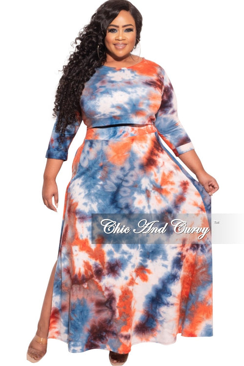 *Final Sale Plus Size 2-Pc Maxi Skirt Set with Round Neck in Red/Burgundy/White/Blue Tie Dye