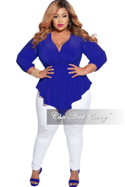 New Plus Size Faux Wrap Asymmetrical Top in Royal Blue