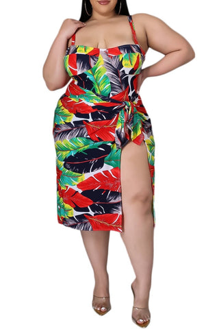 Final Sale Plus Size 3-Piece Poolside Playsuit (Top, High Waist Bottoms & Pants) Set in Watercolor Stripes