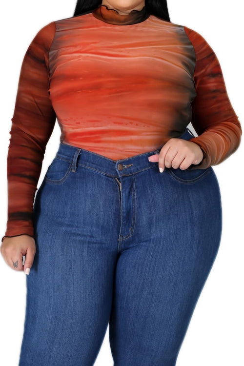 New Plus Size Ombré Bodysuit In Orange Rust / Olive