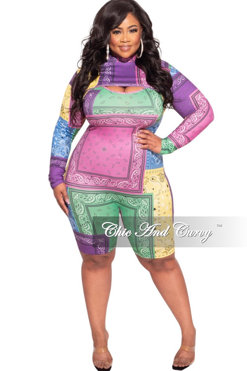 Final Sale Plus Size 2-pc Romper in Multi-Color Bandana Print
