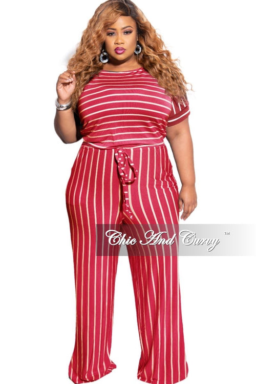 New Plus Size Tie Pocket Jumpsuit in Burgundy with Ivory Stripes