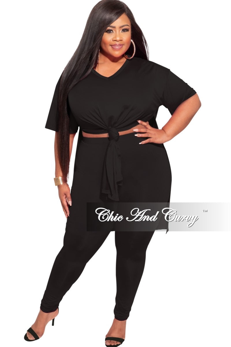 Final Sale Plus Size 2-Piece Split Top & Pants Set in Black