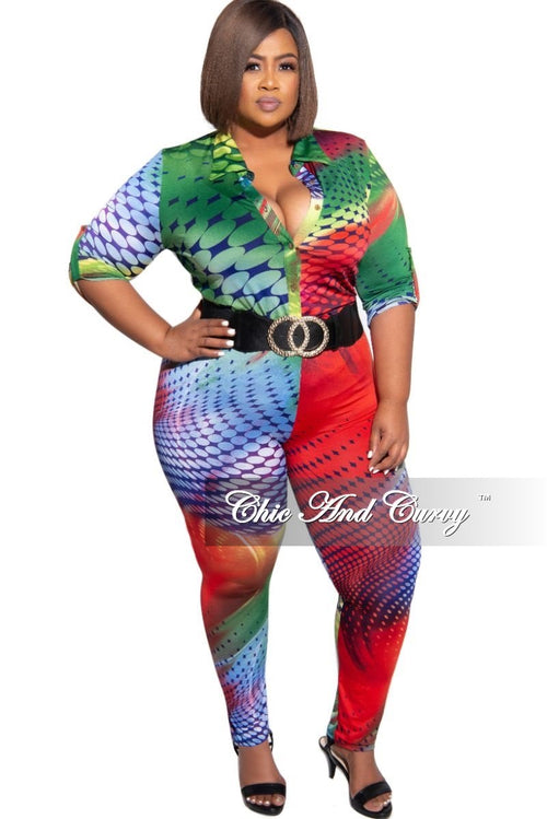 New Plus Size 2-Piece Collared Button Top and Pants Set in Colored Circle Design Print