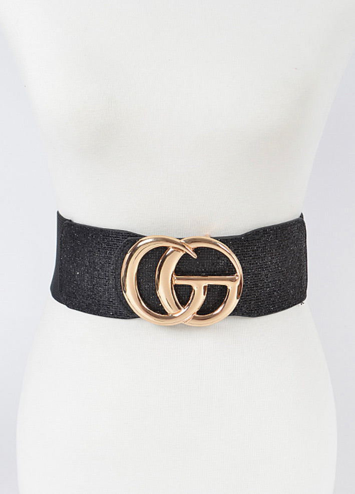 Final Sale Plus Size Curvy Girl Belt with Black Glitter Front & Elastic Back