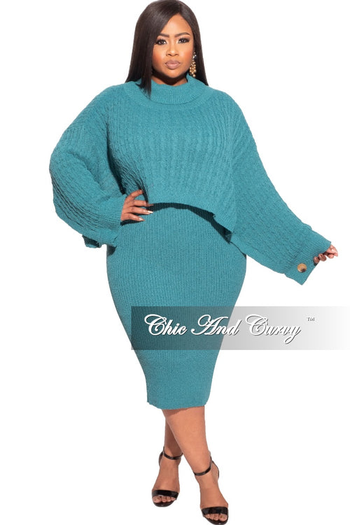 Final Sale Plus Size Sweater Dress with Poncho in Dark Teal