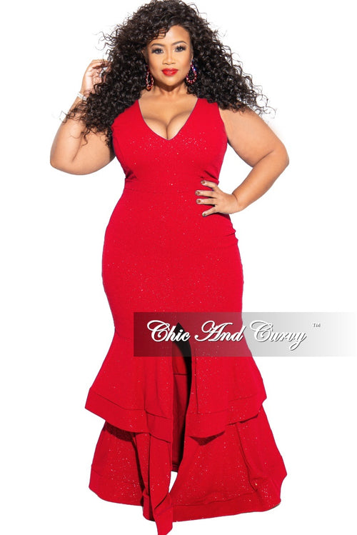 Final Sale Plus Size Ruffle Bottom Glitter Maxi Dress in Red
