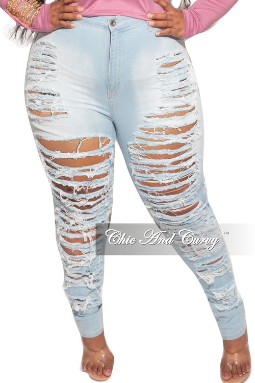 Final Sale Plus Size Extremely Distressed Jeans in Light Wash