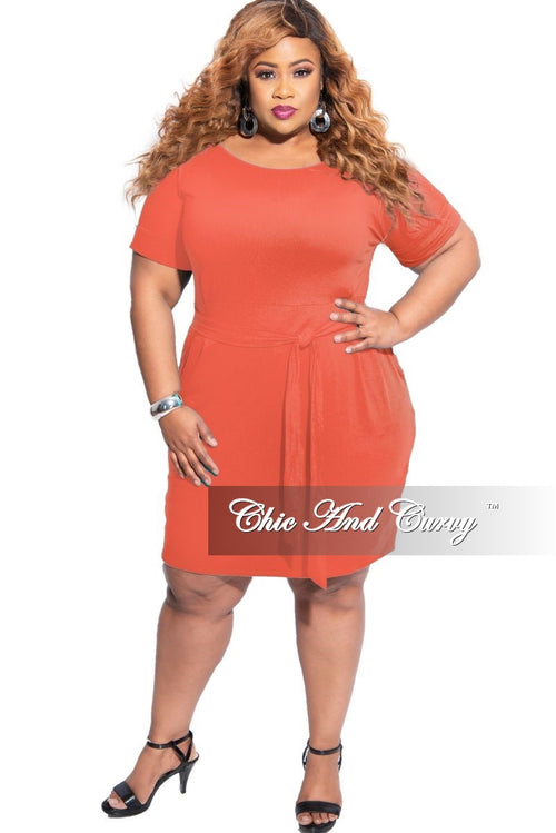 New Plus Size Rolled Sleeve Tie Dress in Ash Copper