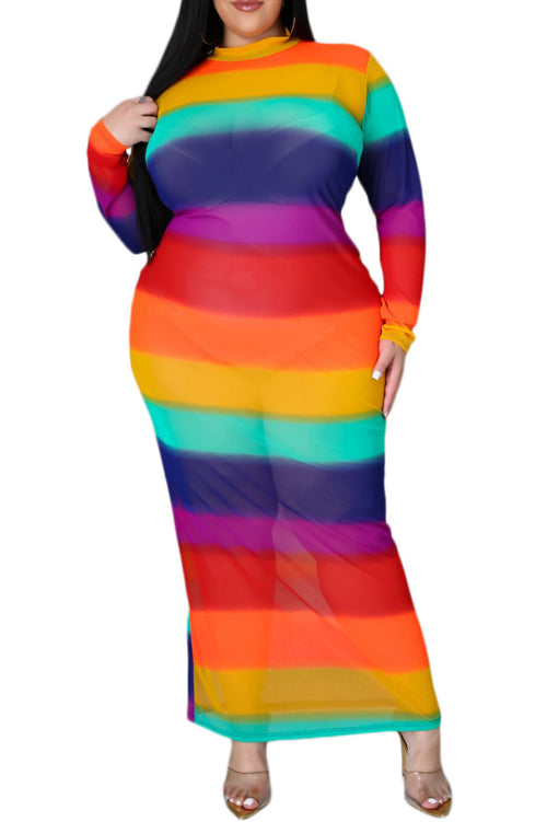 *Final Sale Plus Size Sheer Mesh Bodycon Dress in Rainbow Stripes