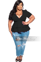 New Plus Size Double Peplum Top in Black