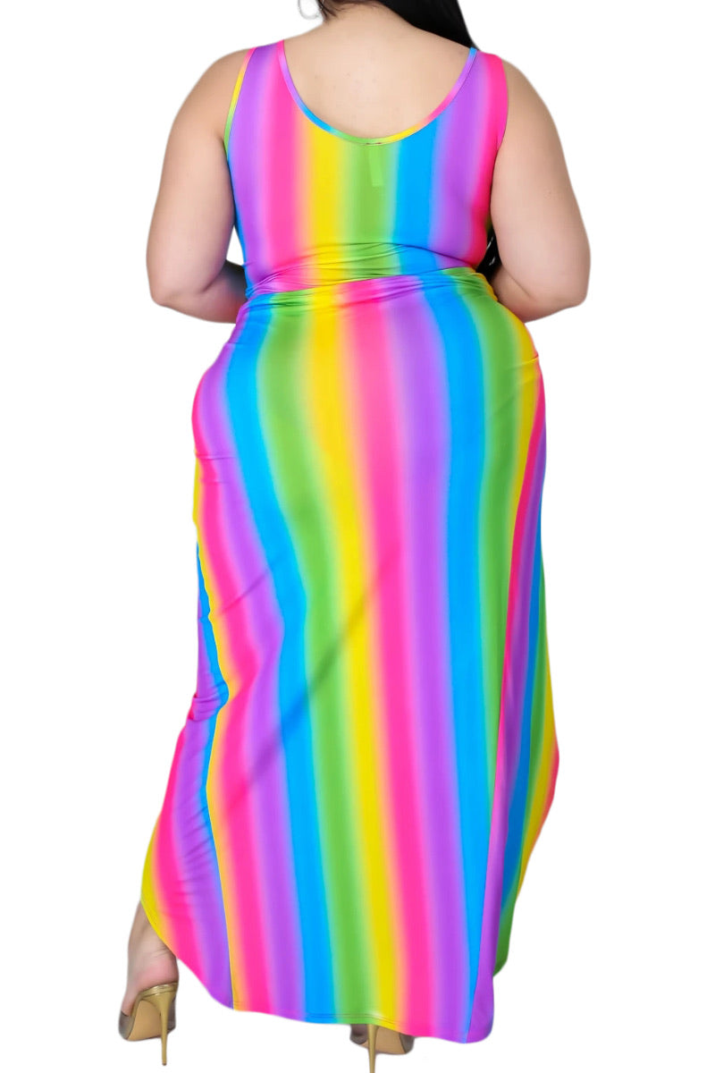 Final Sale Plus Size 2-Pc Set Poolside Playsuit with Cutout Front Bodysuit & High Split Skirt in Rainbow