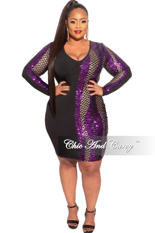 Final Sale Plus Size Sequin Wrap Dress in Black Gold and Purple