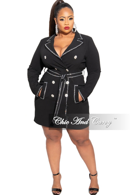 Final Sale Plus Size Rhinestone Blazer Mini Dress in Black