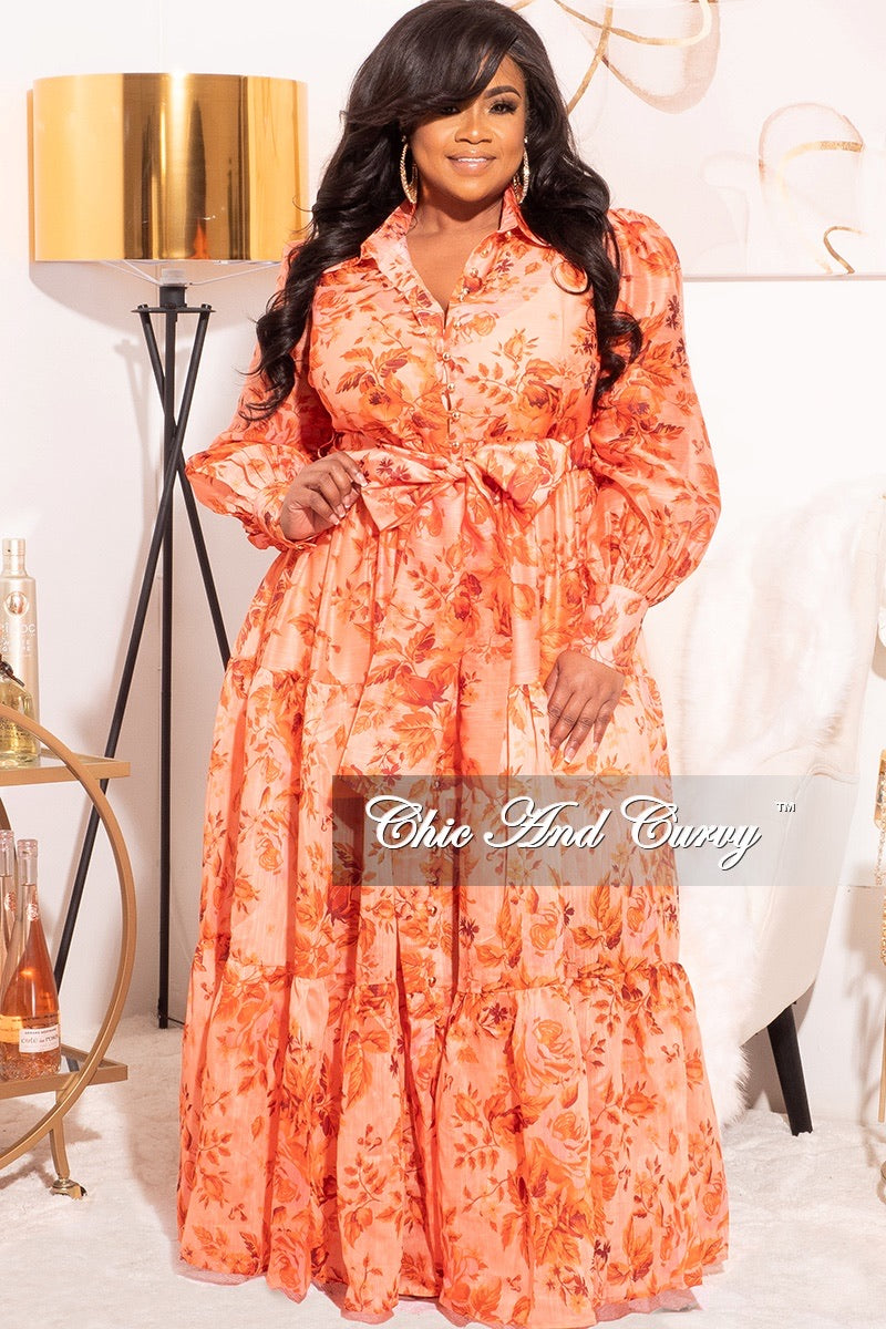 Final Sale Plus Size Chiffon Maxi Dress with Orange Floral Print