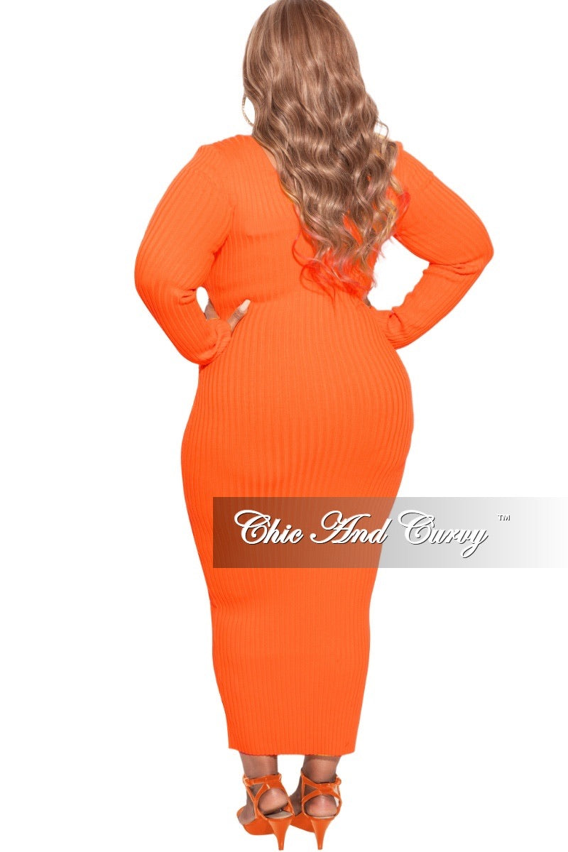 *Final Sale Plus Size BodyCon Ribbed Knit Dress in Spring Orange