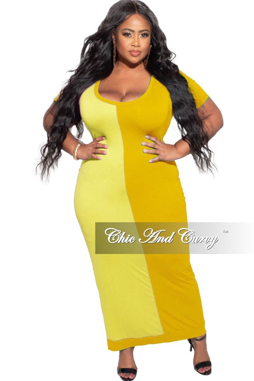 *Deal of the Day Final Sale Plus Size BodyCon Dress Midi Length in Yellow & Mustard