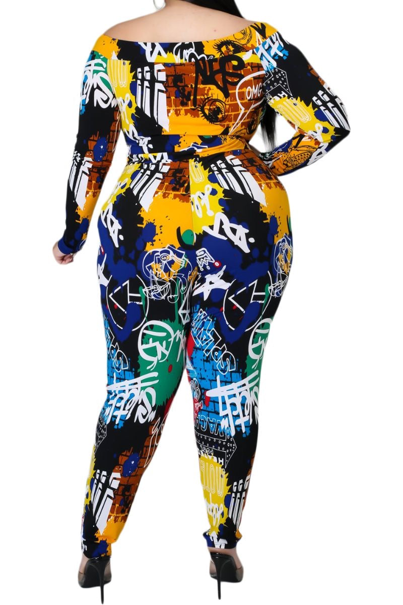 Final Sale Plus Size Off the Shoulder Jumpsuit in Black Multi-Color Graffiti Print
