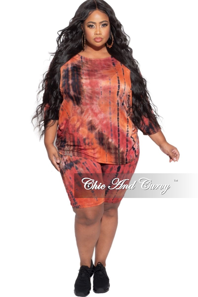 Final Sale Plus Size 2-Piece (Oversize Top & Bermuda Short) Set in Red, Orange, & Brown Tie Dye Print
