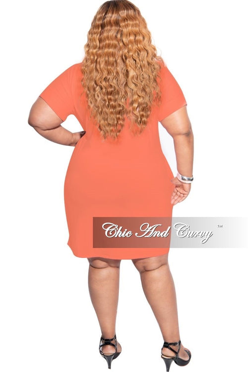 New Plus Size Rolled Sleeve V-Neck Dress in Ash Cooper