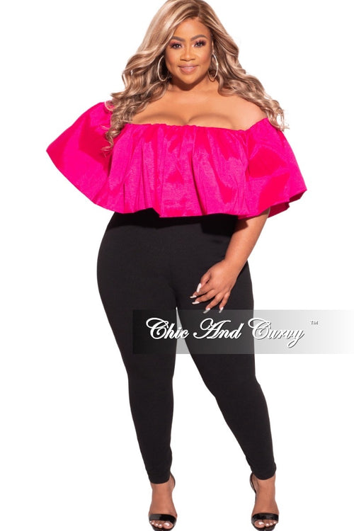 Final Sale Plus Size Off The Shoulder Jumpsuit in Fuchsia & Black